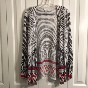 Chicos size 2 black,white, red printed cardigan